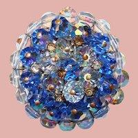 Gorgeous Blue Aurora Crystal Vintage Brooch