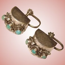 Gorgeous MEXICAN STERLING Aqua Colored Stones Vintage Earrings
