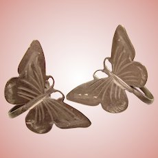 Gorgeous Sterling BUTTERFLY Design Vintage Earrings