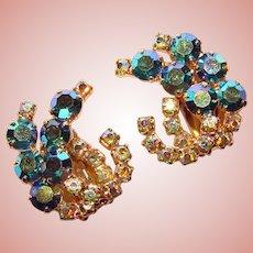 Fabulous Peacock Aurora Rhinestone Dangle Vintage Clip Earrings