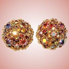 Fabulous Large Mixed Aurora Color Rhinestone Vintage Clip Earrings