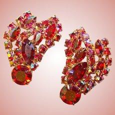 Fabulous Huge RED AURORA Rhinestone Vintage Clip Earrings