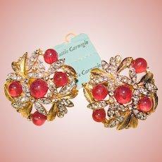 Fabulous HATTIE CARNEGIE Vintage Rhinestone & Glass Clip Earrings - with Original Tag