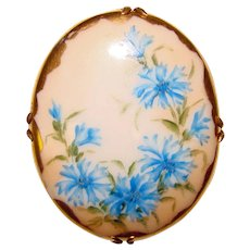 Gorgeous Antique Hand Painted Porcelain Brooch – Blue Flowers