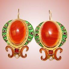 Fabulous STERLING Enamel Agate & Pearl Vintage Lever Back Earrings