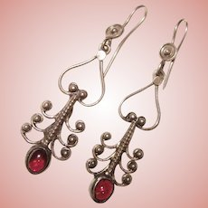 Fabulous STERLING & GARNET Vintage Dangle Earrings
