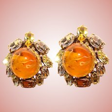 Fabulous SCHREINER High Dome Amber Glass Rhinestone Clip Earrings