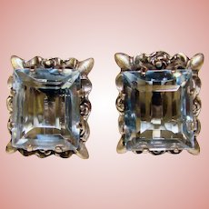 Gorgeous MEXICAN STERLING Signed AE in Heart Vintage Blue Stone Earrings