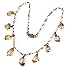 Fabulous Sterling Herkimer Diamond Quartz Crystal Dangles Vintage Necklace