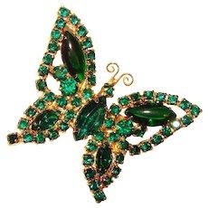 Fabulous Butterfly GREEN Rhinestone Vintage Brooch