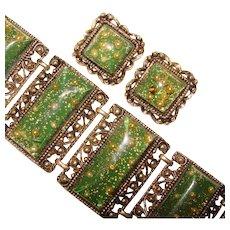 Fabulous Green CONFETTI LUCITE Huge Runway Very Wide Vintage Bracelet Set