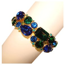 Fabulous BLUE & GREEN Rhinestone Vintage Clamper Bracelet