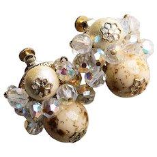 Gorgeous VENDOME Aurora Crystal & Bead Vintage Earrings