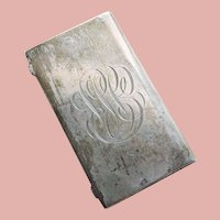 Antique Sterling Calling Card Case - Engraved Fancy Initial