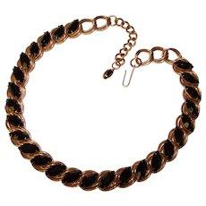 Fabulous BLACK NAVETTE Opaque Rhinestone Vintage Necklace