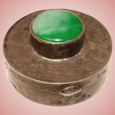 Fabulous STERLING & Green Stone Chinese Export Vintage Box