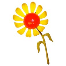 Fabulous 1960s YELLOW Enamel Flower Power Long Stem Vintage Brooch