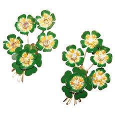 Fabulous Huge CORO Green Enamel Aurora Rhinestone Flower Design Clip Earrings