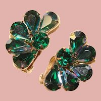 Fabulous Green & Green Aurora Rhinestone Vintage Earrings