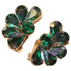 Fabulous Green & Green Aurora Rhinestone Vintage Earrings