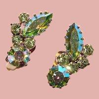 Fabulous Green Aurora Rhinestone Vintage Clip Earrings