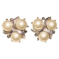 Gorgeous TRIFARI Signed Faux Pearl Rhinestone Vintage Clip Earrings