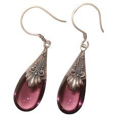 Fabulous STERLING Purple Glass Dangle Earrings