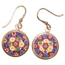 Fabulous Sterling MILLEFIORI Glass Dangle Earrings