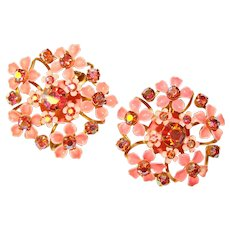 Fabulous PINK Enamel Aurora Rhinestone Flower Design Clip Earrings