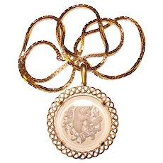 Gorgeous TRIFARI Vintage ARIES Design Glass Pendant Necklace