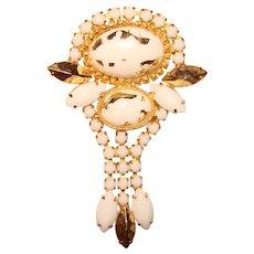 Fabulous White & Gold Milk Glass Dangle Vintage Brooch