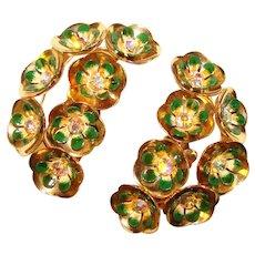 Fabulous Huge CORO Ear Climber Green Enamel Aurora Rhinestone Flower Design Clip Earrings