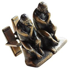 Mid Century THE THINKER 1960s Dimensional Cufflinks - After Auguste Rodin