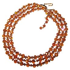 Fabulous Topaz Aurora Crystal 3 Strand Vintage Necklace Set