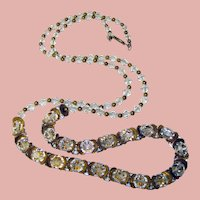 Gorgeous CRYSTAL CLEAR Faceted Glass Beads with Gear Spacers Vintage Necklace