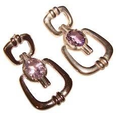 Fabulous STERLING Amethyst Dangle Design Earrings
