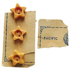 Star Shaped BAKELITE Vintage Buttons - Amber Manila Color - on Card