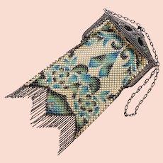 Fabulous MANDALIAN Art Deco Enamel Mesh Flapper Bag Evening Purse