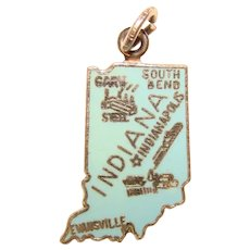 Awesome Sterling & Enamel INDIANA Vintage Charm - State Souvenir