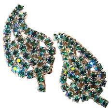 Fabulous Peacock Aurora Rhinestone Vintage Clip Earrings