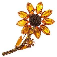 Fabulous AMBER RHINESTONE Vintage Flower Design Brooch