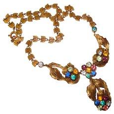 Fabulous Vintage Brass & Colored Glass Dangle Necklace
