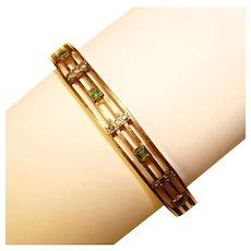 Gorgeous Antique Gold Filled Green Stones Hinged Bangle Bracelet