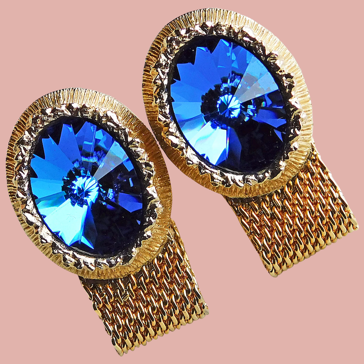 Vintage 1960/'s Mesh Wrap Cuff Links Silver and Blue