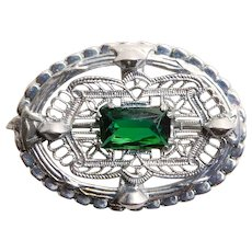 Gorgeous ART DECO Green Glass Stone Filigree Brooch