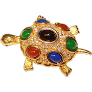 Gorgeous TURTLE Vintage Rhinestone & Colored Glass Stones Brooch
