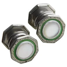 Art Deco Green Celluloid Mother of Pearl Snap Cufflinks - Signed Snap Link