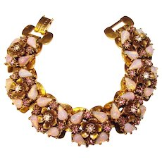 56d3d82cb Fabulous GLASS OPAL Lavender Rhinestone Vintage Bracelet