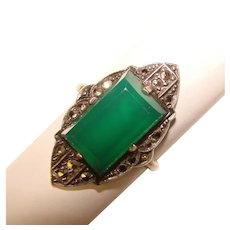 Fabulous ART DECO Sterling Chrysoprase Chalcedony Marcasite Ring – Germany
