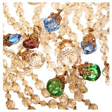 Fabulous Early Miriam Haskell Unsigned Crystal Colored Glass Drops Necklace